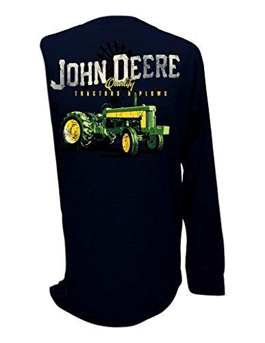 John Deere Men's Long Sleeve Quality Tractors & Plows Shirt-Large