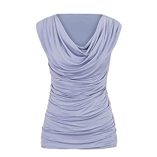 f1cc2a004a7337 FarJing Women Casual Round Neck Pullover Sleeveless Slim Slimming Pleated T- Shirt Tops Blouse(