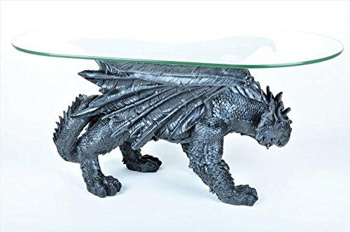 Drachen Tisch Couchtisch Inkl Glasplatte Massiv 20 Kg Sonderpreis Drachentisch Dragon Figur Amazonde Kche Haushalt