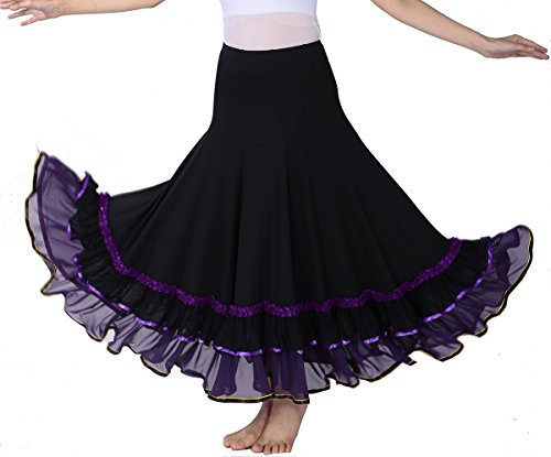 Circular Waltz Flamenco Practice Skirt Costumes for Ballroom Dancers Dance Class -