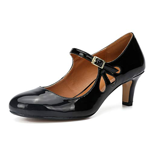 Womens Ladies Mary Jane Comfort Mid Low Kitten Block Heel T-bar Brogue Work Classic Vintage Court Shoes Sandals