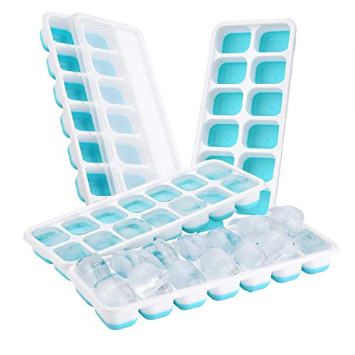 78nyne Silicone Ice Cube Trays with Lids (4-Pack) Flexible, Spill-Resistant Design | 14 Square Blocks per Mold | BPA Free, Reusable, Stackable | Food-Grade Safe | Blue