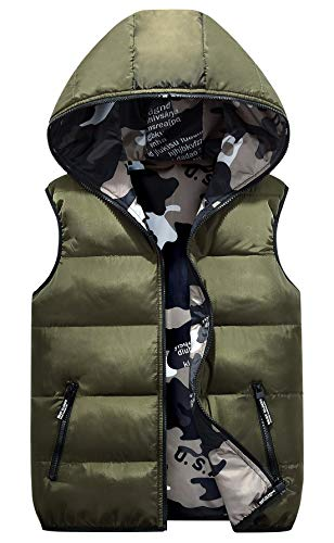 - Happy Cherry Boys Winter Waistcoat Padded Puffy Eiderdown Cotton Warm Reversible Spring Sleeveless Coat 4-5T Army Green