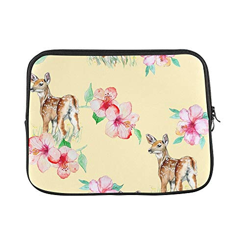 Design Custom Hibiscus Flowers Baby Deer Sleeve Soft Laptop Case Bag Pouch Skin for MacBook Air 11