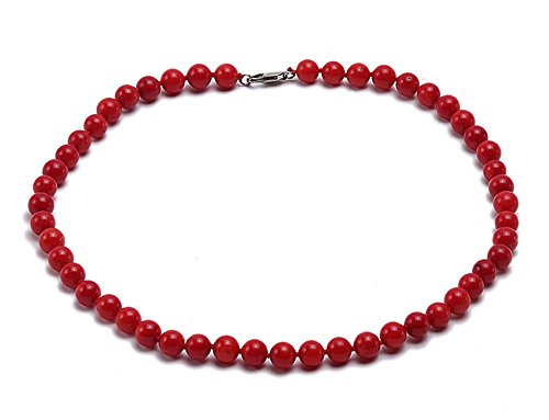 JYX Coral Necklace 7mm Red Round Coral Necklace 18