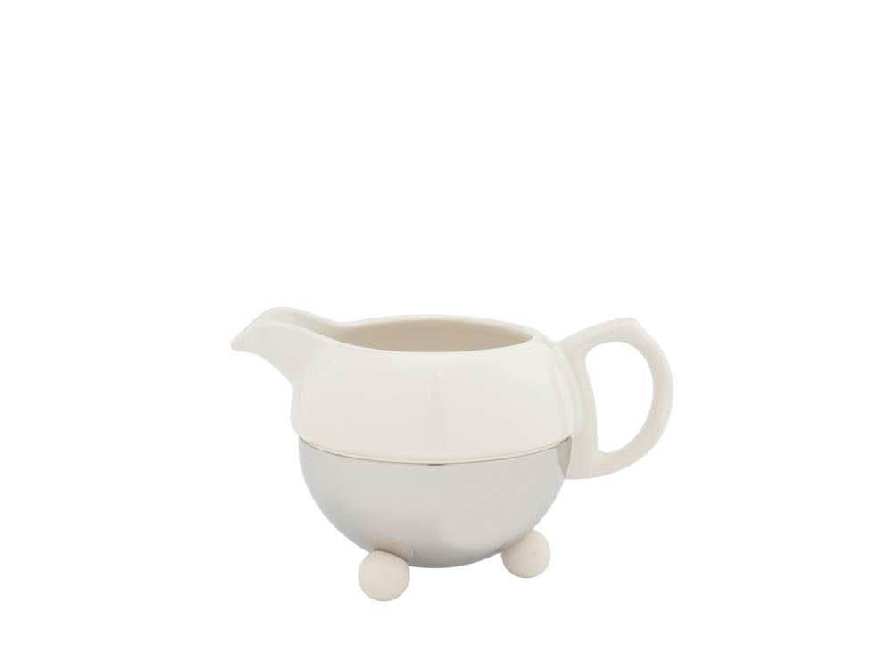 Bredemeijer Cosy 1418W Milk Jug Earthenware With Stainless Steel Handle Cream White BM1418W