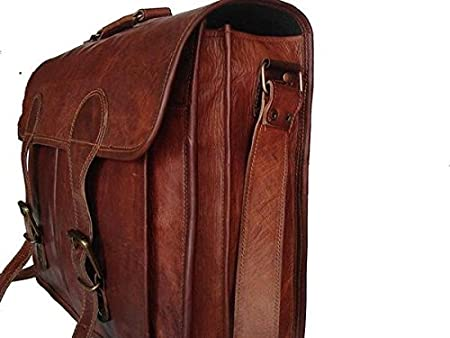 11 Inches TUZECH Pure Leather Bag Unisex Office Formal Travel Brown Laptop Messenger Bag Fits Laptop