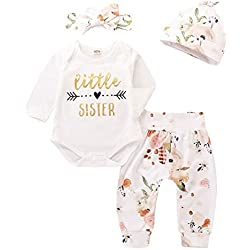 Infant Girl Outfits Baby Little Sister Bodysuit Tops Floral Leggings Pants Set Bowknot Headbands Newborn Cotton Pajamas Clothes 0-3 Months