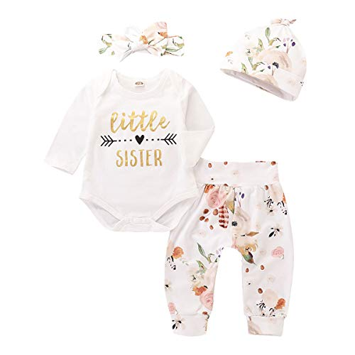 4Pcs Infant Girl Outfits Baby Sister Bodysuit Tops Floral Leggings Pants Set Bowknot Headbands Newborn Pajamas Clothes