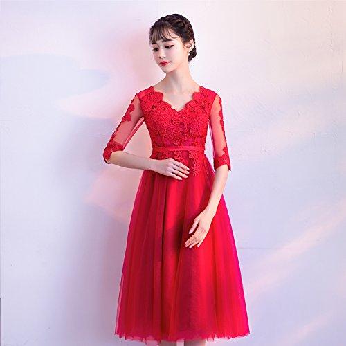 Jkjhah Red Scollo Da V A Con Pizzo In Large Grandi Dimensioni Di Sera Vestito Donna qZxRcAqwSU