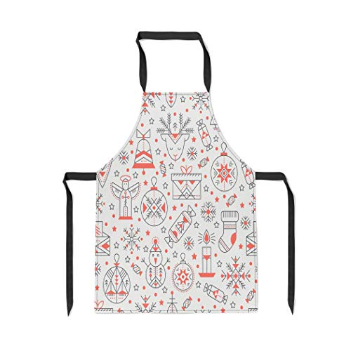 Pinbeam Apron Christmas Outlined Holiday and Winter Signs Black Red with Adjustable Neck for Cooking Baking Garden ()