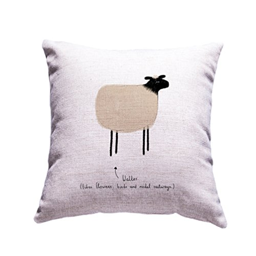 Colorful Hand Draw Cartoon Animals Watercolor Art Design Unique Cotton Linen Home Decorative Cushion Cover Throw Pillow Case 18x18 inch (Sheep)