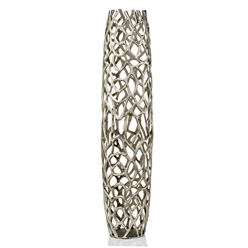 (Rama Silver XL Twigs Barrel Floor Vase, Statement Piece, Aluminum, Modern, Rough Silver, Twig, Texture, Floor Standing, Tall, Vase, Popular, 9