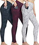 ATHLIO High Waist Yoga Pants with Pockets, Tummy Control Workout Leggings, Non See-Through Running Tights, A1 Pocket 3pack(ylp38) - Marble/Greycamo/Redcamo, X-Small