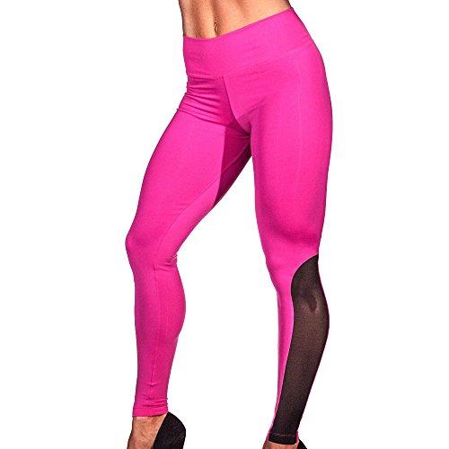Yoga Pants,AmyDong Women Hight Waist Yoga Sports PantsRunning Gym Fitness Stretch Trouser Mesh Splicing Leggings (S, Hot Pink) from AmyDong