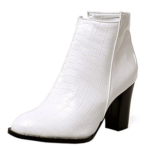 Femme Easemax Montante Mode Talon Bottines Bloc Blanc Chaussure fgxdg