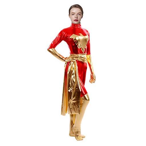 Sheface Women's Metallic Phoenix Catsuit Costumes Bodysuits