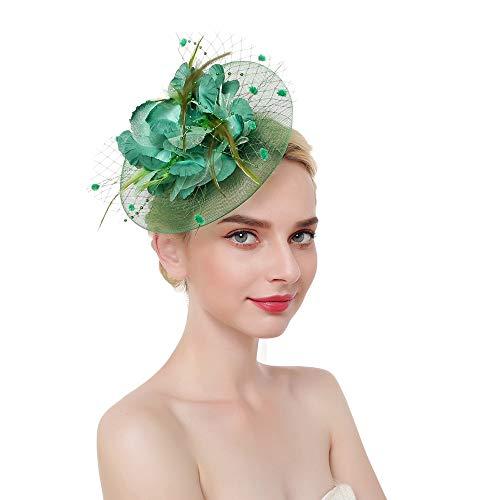 (Fascinator Top Hats Flower Cocktail Hair Clip Mesh Net Feather Headwear for Women Girls Brides Tea Party Derby Green)