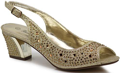 Rhinestone Slingback - Enzo Romeo Lime01 Womens Open Toe Low Heel Wedding Rhinestone Wedge Sandal Shoes (8.5, Gold)