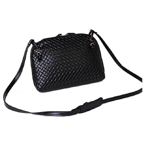 Crossbody Tote - SODIAL(R)Donne 1pc Finto Pelle Borsa Hobo Spalla Satchel Handbag Crossbody Tote (Nero)