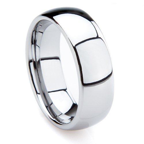 Tungsten Metal 7MM Men's Plain Dome Wedding Band Ring Sz 8.0