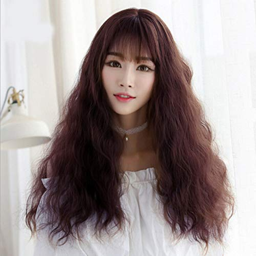 Long Curly Fluffy Wig Halloween Cosplay Lolita Coffee Wig Costume Party Japanese Style Wig]()