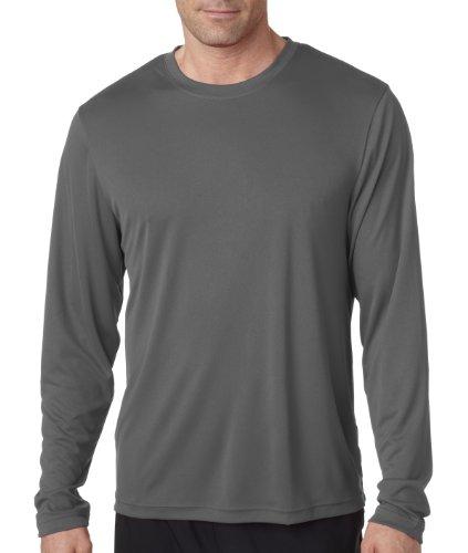 Hanes Cool DRI'Performance mens Long-Sleeve T-Shirt,Graphite,Medium