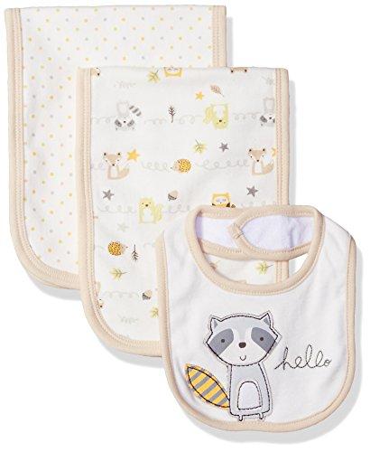 Burb Cloth Set - Rene Rofe Baby Little Kids 3 Pack Burp Cloths and Bib Set, Woodland Pals, Newborn