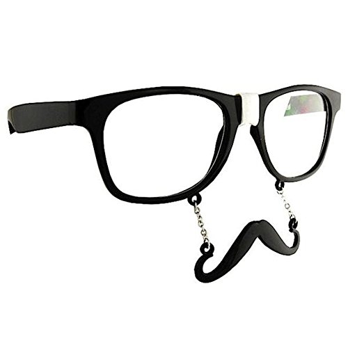 Nerd Black Sun-Staches Sunglasses - With Nerd Glasses Tape