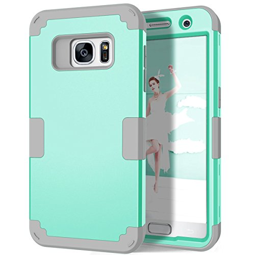 Galaxy S7 Case, Hocase Heavy Duty Impact Defender Shock Absorbing Hybrid Dual Layer Protective Case Cover for Samsung Galaxy S7 (2016 Release) - Teal / Grey