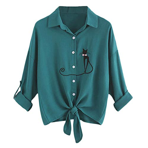 Vert Grande Longues Blouses Chemisiers Femme Femme imprim Col Casual Chemisier Manches Weant V Ray Blouse Tops Blouse Bandage Shirt Taille qHw6pCgExn