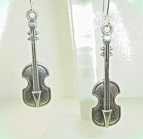 Large VIOLIN Viola FIDDLE Strings Silver-tone Dangle Earrings 2-1/2