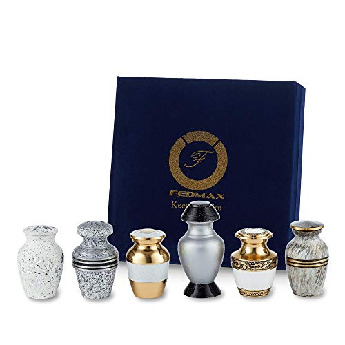 Keepsake Cremation Urns, White (6pc), Small Funeral Urns for Human Ashes w/Velvet Box, by Fedmax.