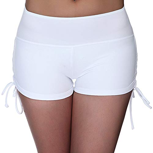 UNOW Women's Sporty Adjustable Boy Leg Wide Waistband Fully Lined Bikini Bottom Beach Briefs Tankinis Board Shorts(White,L)