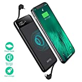 Wireless Portable Charger, Portable Charger, SANAG 10000mAh External Battery Pack, Type-C, QC 2.0 Ports and LED Displaly, Power Bank for iPhone, iPad, Samsung and More