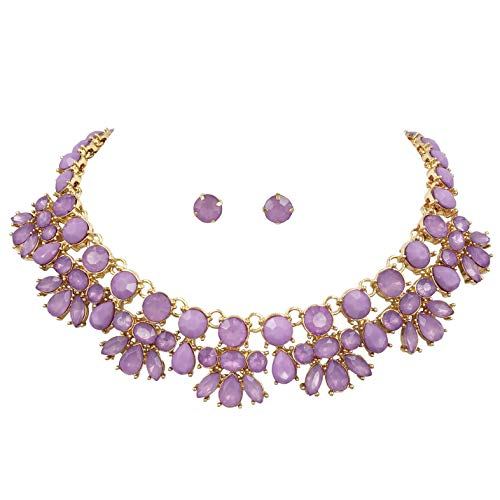 Gypsy Jewels Abstract Bib Statement Boutique Necklace & Earrings Set (Lavender Light Purple) ()