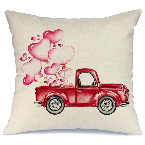 (AENEY Valentines Pillow Cover 18x18 for Couch Red Truck Hot Love Red Pink Sweet Heart Happy Valentine's Day Decorations Throw Pillow Home Decor Pillowcase Faux Linen Cushion Case Sofa)