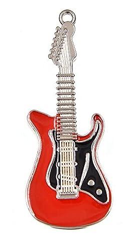 FEBNISCTE 32GB Metal Guitar Shaped USB2.0 Flash Drive (Red)