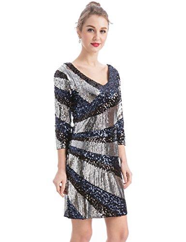 MANER Women's Sequin Glitter V-Neck 3/4 Sleeve Bodycon Cocktail Party Dress (L, Silver/Black/Dark Blue)