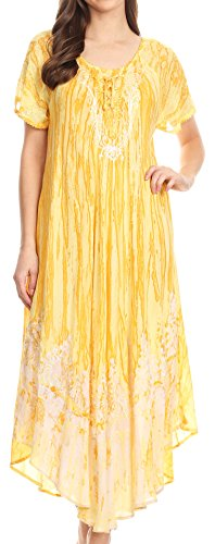 Sakkas 16601 - Ronny Lace Embroidered Cap Sleeve Tie Dye Wash Caftan Dress/Cover up - Yellow - OS (Wash Dye)
