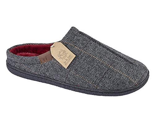 Mens Harrison Jo & Joe Tweed Faux Fur Lined Slip On Mules Slippers Size...