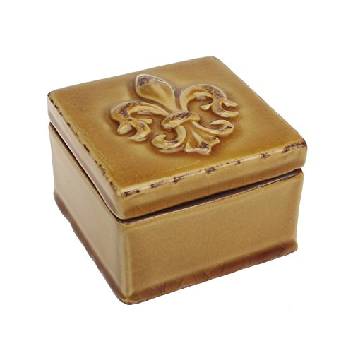 Stonebriar Square Worn Amber Fleur De Lis Trinket Box, Decorative Keepsake Box, Unique Small Jewelry Holder, Gift Ideas for Men and Women