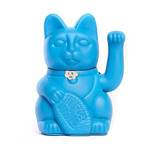 Gato de la Suerte chino. Lucky Cat. Maneki Neko. COLOR AZUL PITUFO 12x9x18cm
