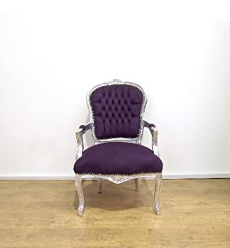 affordable stunning vintage retro shabby chic french louis xv style chair with purple fabric upholstery and silver carved with bao shabby chic with baos - Baos Vintage