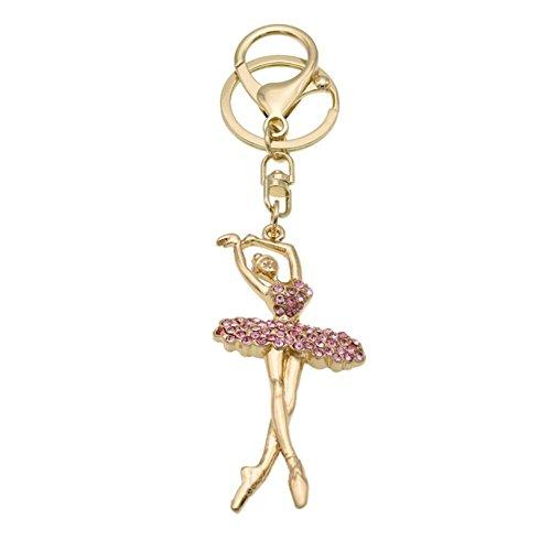Price comparison product image Fashion Metal Crystal Rhinestone Dancing Angel Keyring Handbag Backpack Wallet Car Charm Pendant Key Chain Gifts for Girls Women