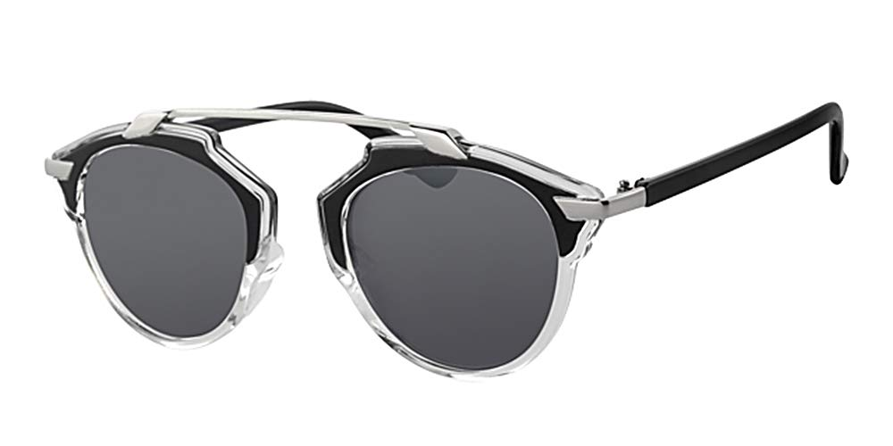Retro Cats Eye Black & Silver Frame Celebrity Sunglasses, With Free Yellow Neck Cord Eyewear World