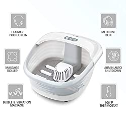 Hangsun Foot Spa Bath Massager with Heat Massage and Jet FM400 Electric Feet Salon Tub with Timer, Bubbles, Rollers, Vibration, Infrared & Medicine Box - Heat Water Temperature & Relieve Foot Pressur