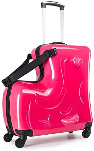 O-Toys 2 in 1 Kids Luggage Ride-On Organizer Carry-On Travel Bag with Traction Rope Waterproof Toys Storage Box, Large Pink