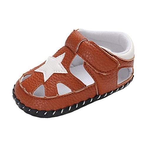 Price comparison product image Baby Sneakers, Vanvler Toddler Boy Star New Summer Crib Shoe Newborn Soft Sole Anti-slip Sandals (Brown,  US 3= CN12)
