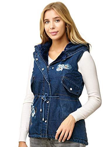 Cappuccio Con Donna D2520 Jeans Giacca Cappotto Giubbotto Noname Rosa Senza Gilet Maniche qwF4UIXaW